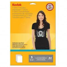 Hartie transfer termic Kodak 5 coli A4 pentru textile negre