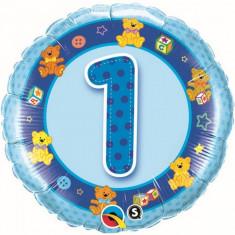 Balon 1 an baietel din folie cu ursuleti 43 cm