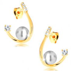 Cercei din aur galben de 14K - linie lucioasă curbată, perlă și zirconii