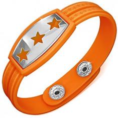Brățară din cauciuc - portocalie cu stele și simbol grecesc