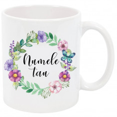 Cana cu nume personalizata, ceramica alba, 325 ml, model flori si fluture