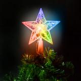 Cumpara ieftin Ornament de pom de Craciun, model stea, 10 LED-15 cm, RGB, 2xAA