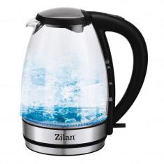 Fierbator sticla Zilan, 1.7 l, 2200 W, leduri iluminare apa, 1,7 L