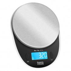Cantar bucatarie Teesa, 5 kg, ecran LCD, 3 x AAA, Negru/Argintiu