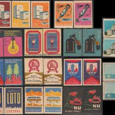 Lot 27 etichete chibrituri romanesti cu varietati de tipar, RPR - RSR 1958-1973