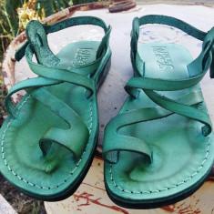 Sandale Verzi Dama Barbati Deget, 40, 44, 46, Verde, Piele naturala, Sandaleromane