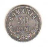 SV * Romania   50  BANI  1876  *  ARGINT .835  *  Regele Carol I