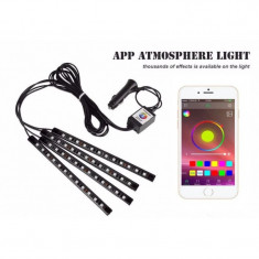 Benzi Led Auto MultiColore RGB 12 Leduri x 4 Bucati Control Aplicatie Android foto