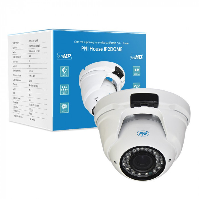 Resigilat : Camera supraveghere video PNI House IP2DOME 1080P cu IP varifocala 2.8