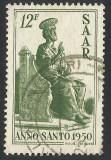 GERMANIA SAAR 1950 --STATUIA LUI MICHELANGELO LA ROMA, Stampilat