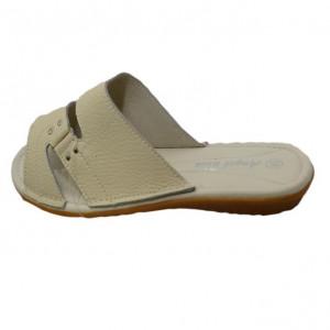 Papuc cu talpa joasa, flexibila, din piele naturala, de culoare bej