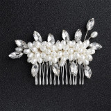 Accesoriu de par handmade, cu perle si cristale
