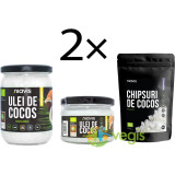 Pachet Cocos: Ulei de Cocos Extra Virgin Ecologic/Bio (2 x 200g/220ml + 2 x 460g/500ml) + 2 x Chipsuri De Cocos Raw Ecologice/Bio 125g