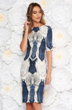 Rochie albastra-inchis eleganta de zi tip creion din material fin la atingere animal print