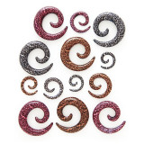 Expander pentru ureche – spirală, model leopard - Lățime: 10 mm, Culoare: Maro