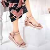 Sandale dama cu platforma roz Girolesi