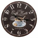 Ceas de perete, model caffe, 33,8 cm, maro