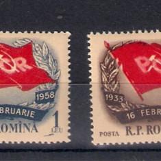 ROMANIA 1958 - A 25-A ANIVERSARE A LUPTELOR CEFERISTILOR DIN 1933 - LP 450