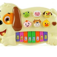 Pianina catelus de jucarie pentru copii cu melodii si sunete de animale RT2151A