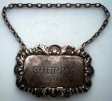 O.004 SHERRY ETICHETA TAG STICLA DECANTOR ARGINT LONDON ART NOUVEAU