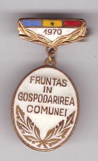 Insigna Fruntas in gospodarirea comunei 1970