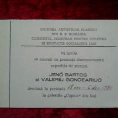 Invitatie expozitie pictura: Jeno Bartos si Valeriu Gonciariuc, 1980