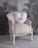 Fotoliu din lemn masiv alb cu tapiterie din catifea grej CAT660D18