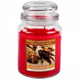 Lumanare parfumata la borcan, model cu aroma picanta de vanilie, 6.5×9.5 cm