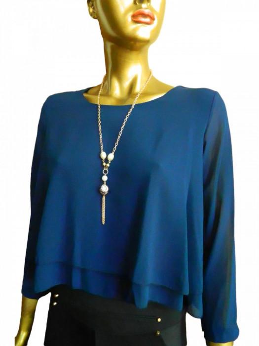 Bluza asimetrica din voal de culoare bleumarin