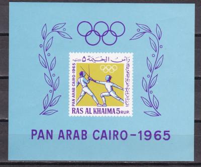 Ras al Khaima  1965  sport  Bl.8   MNH  w62 foto