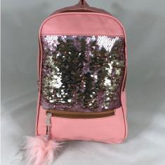 Rucsac mare roz  cu paiete si puf+CADOU, Din imagine