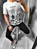Tricou pentru barbati model floral simplu slim fit casual BB18103