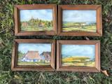 Tablou ,pictura miniaturala germana in ulei ,set de 4 picturi