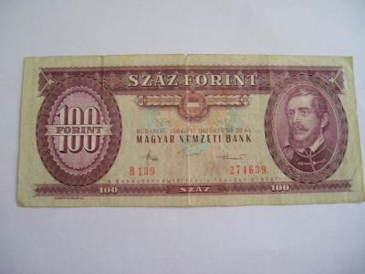 MDBS - BANCNOTA UNGARIA - 100 FORINTI - 1984 foto