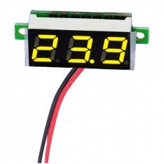 Voltmetru digital mic, cu leduri galbene, 3.5 - 30 V, cu 3 digit si 2 fire