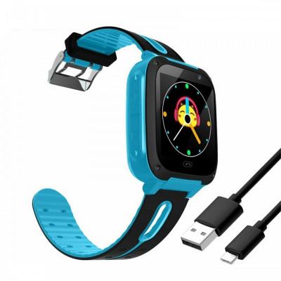 Ceas smartwatch pentru copii, cu camera foto si usb, albastru, Gonga foto