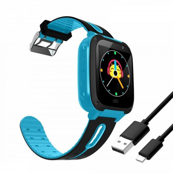 Ceas smartwatch pentru copii, cu camera foto si usb, albastru, Gonga