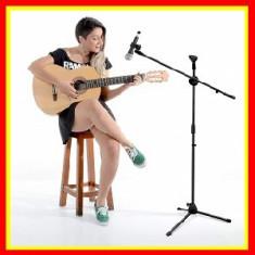 Stativ Suport Profesional pentru 2 Microfoane, Inaltime Reglabila