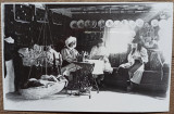 Taranci cusand, interior de casa taraneasca, anii '30// reproducere de epoca, Portrete, Romania 1900 - 1950