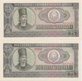 ROMANIA 2 bancnote x 25 lei 1966  UNC SERIE CONSECUTIVA