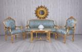 Set baroc din lemn masiv auriu cu tapiterie din matase bleu  CAT381A13, Sufragerii si mobilier salon