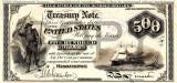500 dolari 1864 Reproducere Bancnota USD , Dimensiune reala 1:1