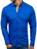 Cumpara ieftin Cămașă elegantă pentru bărbat în dungi cu mâneca lungă albastru-deschis Bolf 4704