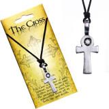 Colier din șnur negru, pandantiv - cruce și soare