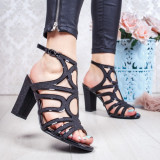 Sandale cu toc dama negre Piselia