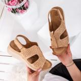 Sandale dama cu talpa ortopedica bej Eufolia