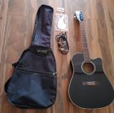 Chitara electro-acustica Harley Benton D-120CE BK nefolosita+ husa si accesorii