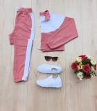 Trening dama lung roz inchis cu alb cu pantaloni lungi si bluza cu maneca lunga fashion