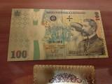 Bancnota 100 lei 2018 100 ani de la Marea Unire aur culoare UNC CERTIFICAT