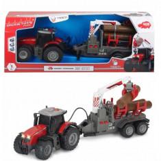 Jucarie Tractor forestier Massey Ferguson cu brat mobil si sunete 3737001 Dickie